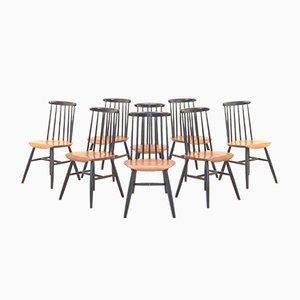 Vintage Fanett Esszimmerstühle in Schwarz & Weiß von Ilmari Tapiovaara, 8er Set