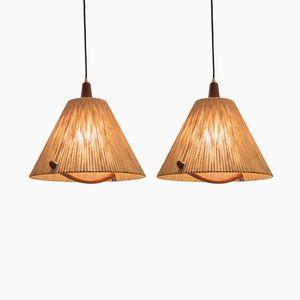 Lampes à Suspension Vintage en Teck & Corde de Temde, Suisse, Set de 2