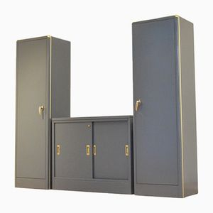 Mid-Century Industrial Belgian Army Storage Units in Grey