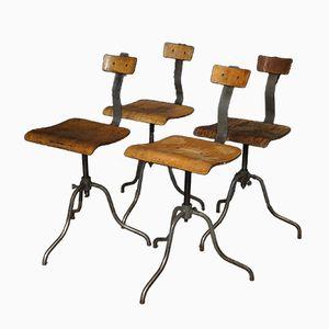 Industrielle Werkstattstühle, 1950er, 4er Set