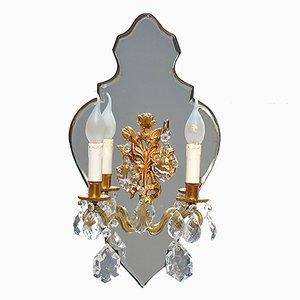 Französische Kerzen Wandlampe, 1950er