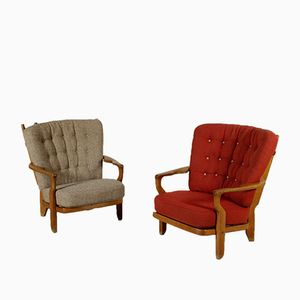 French Armchairs in Oak & Fabric, 1960s, Set of 2