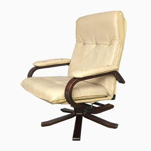 Danish Leather & Teak Reclining Swivel Lounge Chair from Unico, 1970s