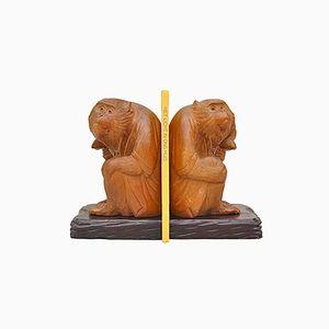 Deutsche Affen Buchstützen aus Holz, 1950er, 2er Set