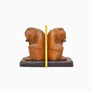 German Wooden Monkey Bookends, 1950s, Set of 2