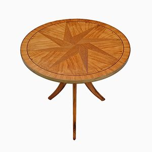 Vintage Tripod Side Table with Star Inlay