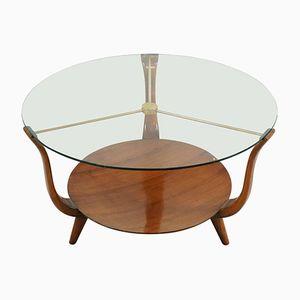 Tavolino da caffè rotondo in noce, ottone e vetro, Italia, anni '50