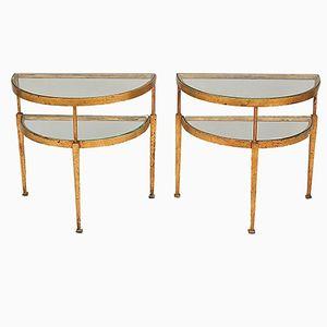 Vintage Demilune Gilt Metal & Glass Side Tables