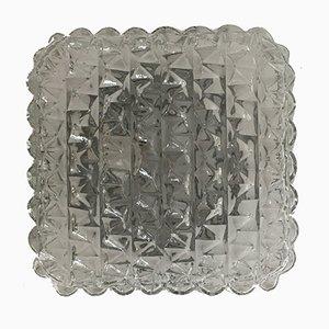 Applique vintage quadrata in vetro, anni '60