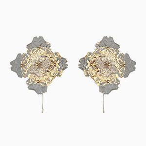 Florale Wandleuchten aus Goldenem Metall mit Großen Kristallglas Blumen von Sölken Leuchten, 1980er, 2er Set