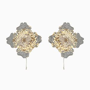 Gold Metal Floral Wall Sconces with Large Crystal Flowers from Sölken Leuchten, 1980s, Set of 2