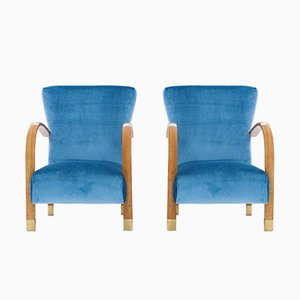 Italian Velvet & Brass Armchairs, 1940s, Set of 2