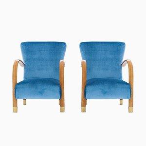 Italienische Sessel aus Samt & Messing, 1940er, 2er Set