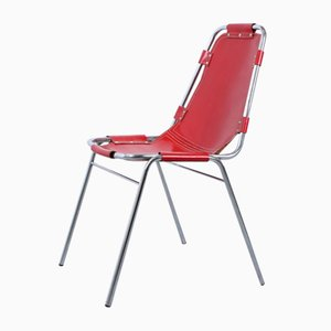 Roter Vintage Les Arcs Sattelleder Sessel von Charlotte Perriand