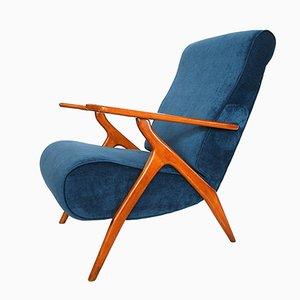 Beech and Velvet Armchair by Antonio Gorgone, 1950s