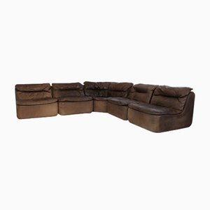 Curved Sectional Corner Leather Sofa by Friedrich Hill for Walter Knoll, 1970s