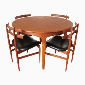 Runder Esstisch und 4 Stühle von Poul Hundevad für Soro Stole, 1960er