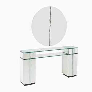 Hollywood Regency Console Table with Mirror, 1970s