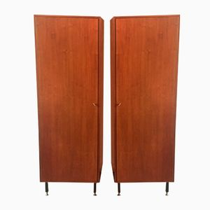 Vintage Wooden Wardrobes, 1960s, Set of 2