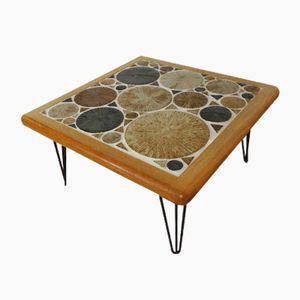 Tavolino da caffè Mid-Century in teak con gambe a forcina di Tue Poulsen per Haslev