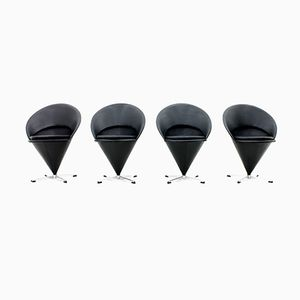 Cone Chairs in Black Leather by Verner Panton, 1960s, Set of 4