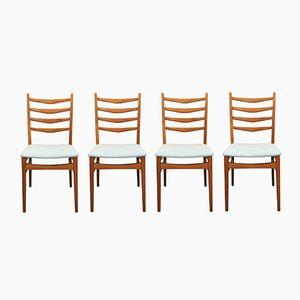 Deutsche Stühle mit Hellblauem Bezug, 1950er, 4er Set
