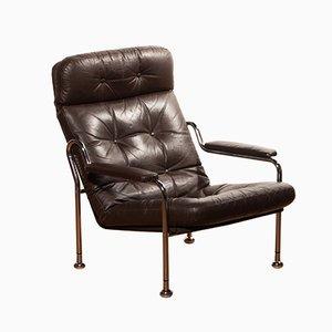Schwedischer Sessel aus Braunem Leder und Stahlrohr, 1970er