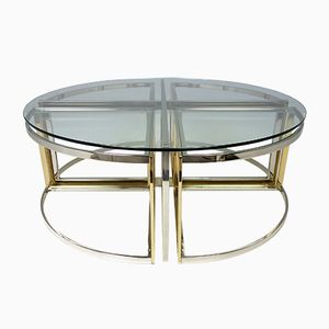 Glass, Steel and Brass Round Table from Maison Charles, 1970s