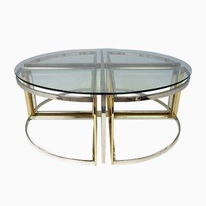 Runder Glas, Stahl & Messing Tisch von Maison Charles, 1970er