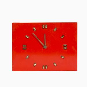 Vintage German Wall Clock in Red