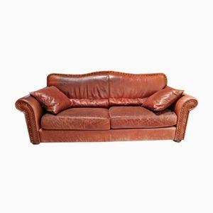 Italian Brown Leather Sofa, 1970s