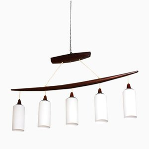 Scandinavian Mahogany & Opaline Pendant Lamp, 1960s