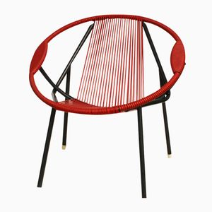 Vintage Red Rubber & Metal Chair, 1950s