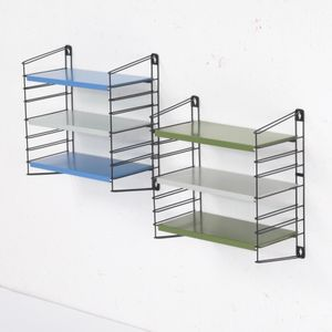 Small Mid-Century Blue, Grey, & Green Wall Shelves by A. D. Dekker for Tomado, Set of 2