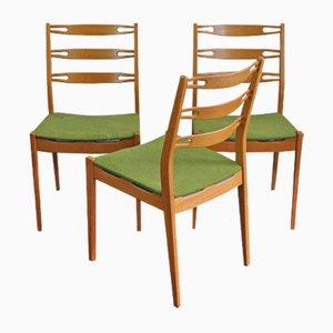 Teak Stühle mit Grünem Bezug, 1960er, 3er Set