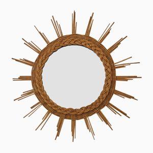 Woven Rattan Sun Mirror, 1960s
