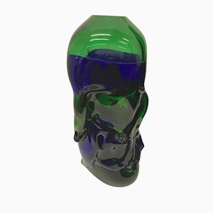 Blue and Green Murano Glass Vase by Paolo Crepax, 1990s