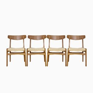 Model CH23 Oak & Teak Dining Chairs by Hans J. Wegner for Carl Hansen & Son, 1950, Set of 4