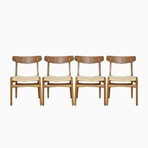 Modell CH23 Esszimmerstühle aus Teak und Eiche von Hans J. Wegner für Carl Hansen & Son, 1950, 4er Set