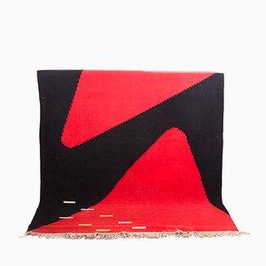 Tschechischer Vintage Teppich mit Geometrischem Muster in Rot und Schwarz