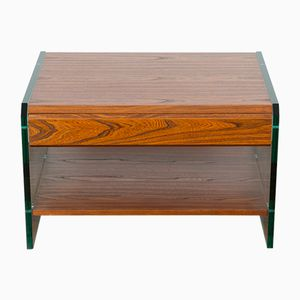 Vintage Rosewood and Glass Side Table, 1970s
