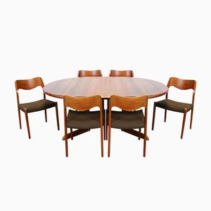 Teak Dining Table with 6 Model 71 Chairs by Niels Otto Moller for J.L. Møllers, 1960s