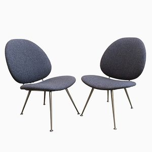 Mid-Century Dutch Blue-Grey Armchairs by Willem Gispen, Set of 2