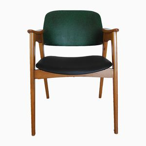 Mid-Century Green & Black Riveted Chair with Slanted Legs