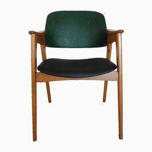 Mid-Century Stuhl in Grün & Schwarz mit Abgeschrägten Beinen