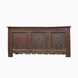 19th Century Large Carved Oak Panelled Coffer