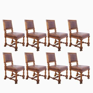 Oak Dining Chairs, 1870s, Set of 8