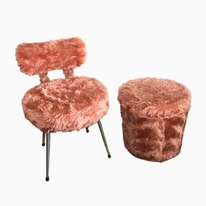 Stuhl und Ottomane Modell Pelfran in Altrosa, 1970er