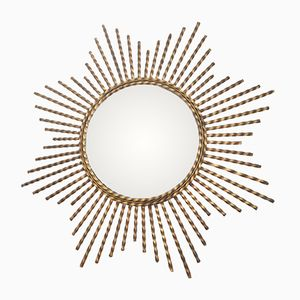 Twisted Brass Sun Mirror, 1970s