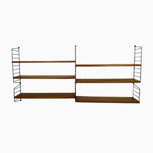 Vintage Teak Wall Unit with Six Shelves by Nisse Strinning for String, 1950s